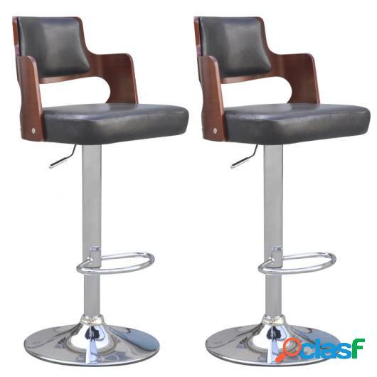 Taburetes de bar 2 uds cuero artificial negro asiento