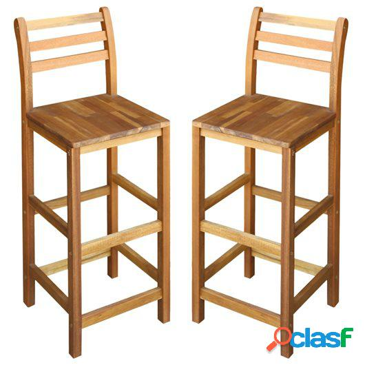 Taburetes de cocina 2 uds madera maciza de acacia 42x36x110