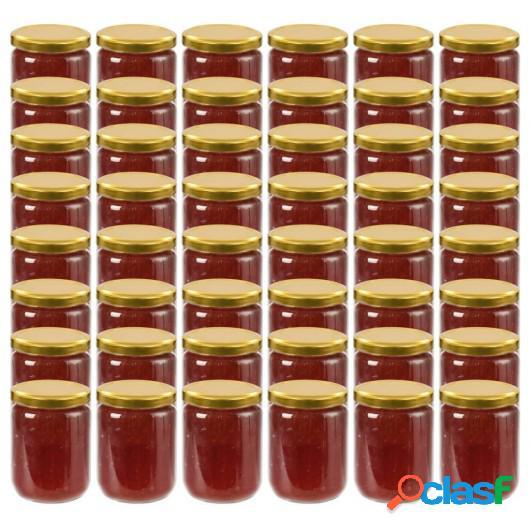 Tarros de mermelada de vidrio con tapa dorada 48 uds 230 ml