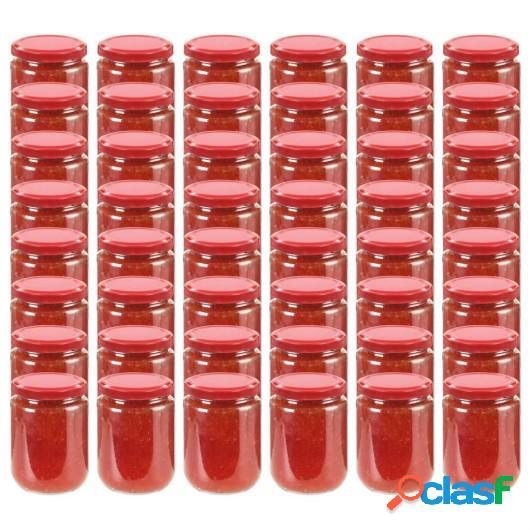 Tarros de mermelada de vidrio con tapa roja 48 unidades 230