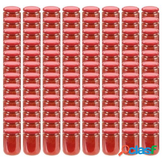 Tarros de mermelada de vidrio con tapa roja 96 unidades 230