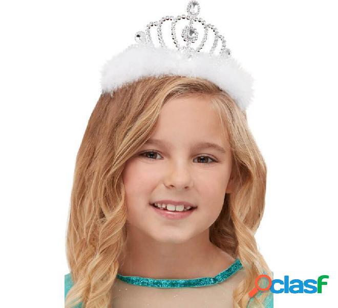 Tiara de Princesa Plateada con Marabú y Diamantes para