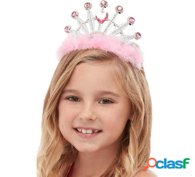 Tiara de Princesa Rosa con Marabú y Diamantes para niña