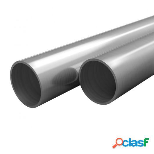 Tubos de acero inoxidable redondos 2 unidades V2A 2 m