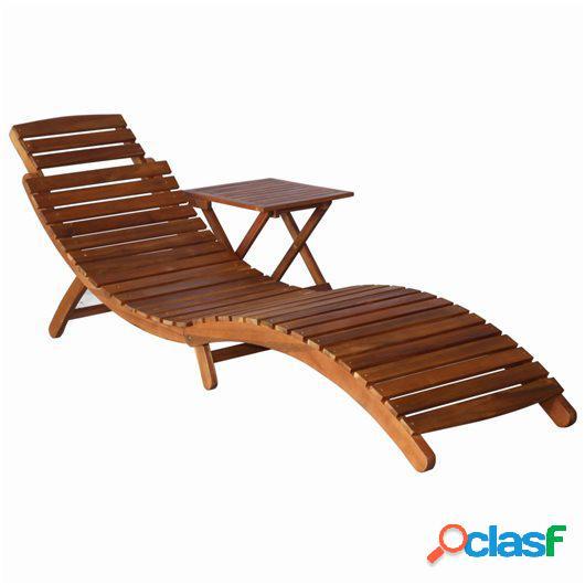 Tumbona con mesita de madera maciza de acacia marrón