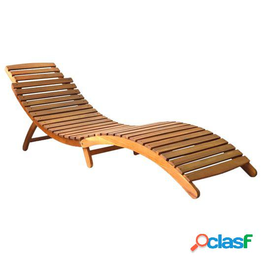 Tumbona de madera maciza de acacia marrón