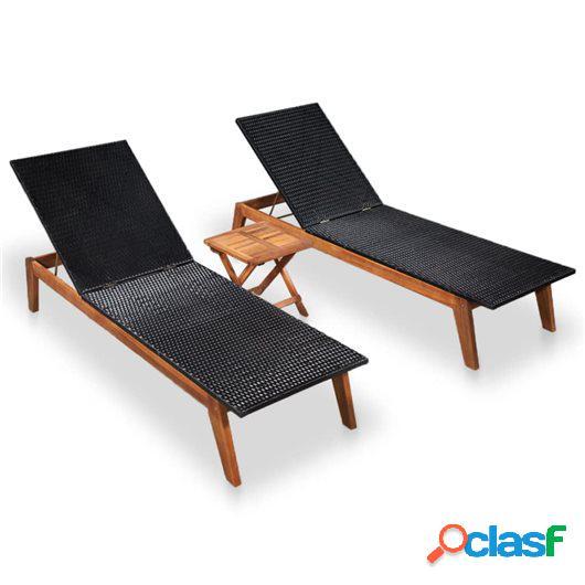 Tumbonas con mesa 2 unidades ratán y madera maciza de