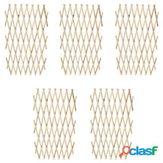 Valla enrejada extensible de madera 180x90 cm 5 piezas