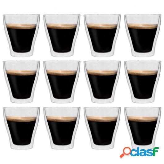 Vasos de cristal térmico doble pared para café 12 ud 280