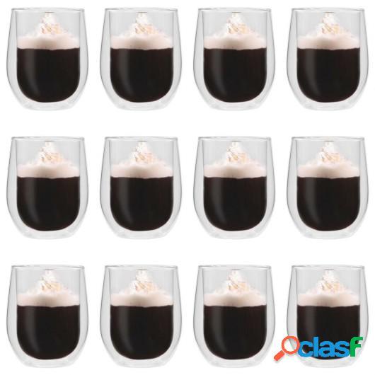 Vasos de cristal térmico doble pared para café 12 uds 320