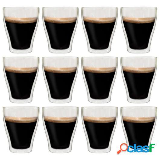 Vasos de cristal térmico doble pared para café 12 uds 370