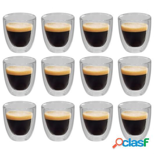 Vasos de cristal térmico doble pared para café 12 uds 80