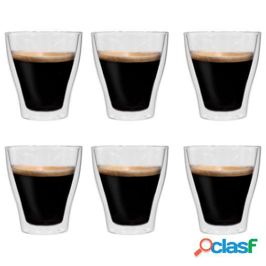 Vasos de cristal térmico doble pared para café 6 uds 280
