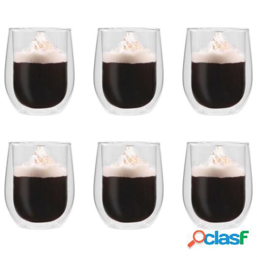 Vasos de cristal térmico doble pared para café 6 uds 320