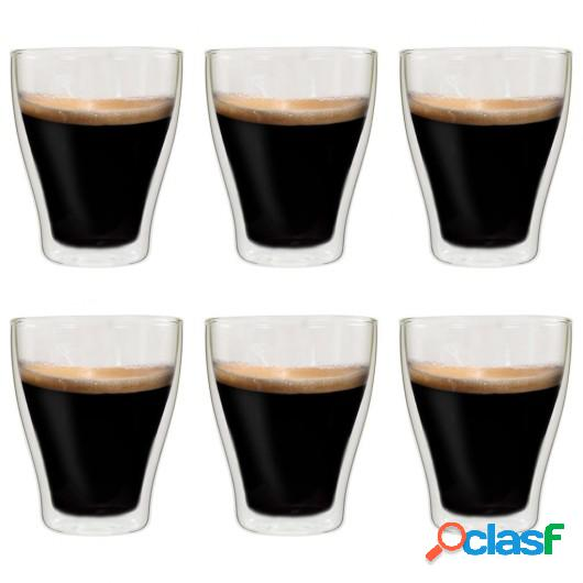 Vasos de cristal térmico doble pared para café 6 uds 370