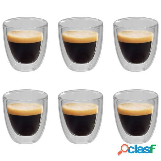 Vasos de cristal térmico doble pared para café 6 uds 80 ml