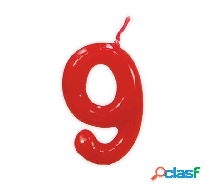 Vela roja con el número 9 para cumpleaños