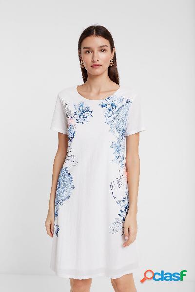 Vestido corto con flores, mandalas y beads - WHITE - L