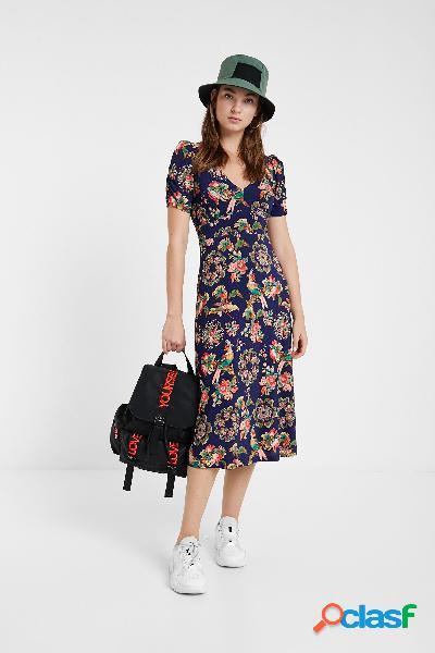 Vestido floral evasé y de solapa - BLUE - XL