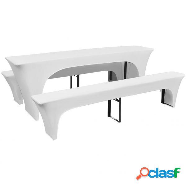 VidaXL - 3 Fundas blancas estirables para mesa y 2 bancos