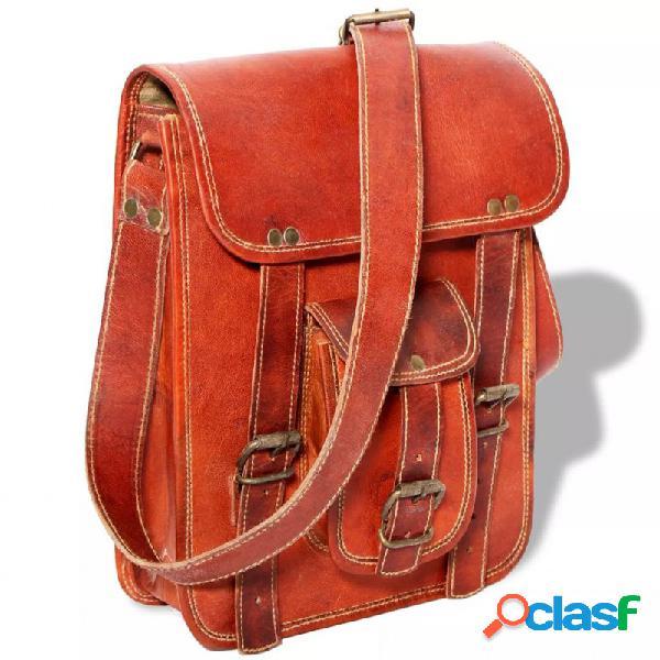 VidaXL - Bolso para portátil de 7 pulgadas de cuero marrón