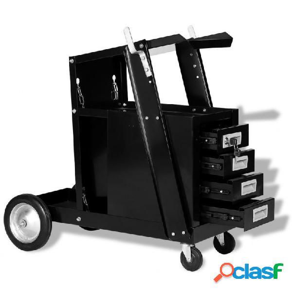 VidaXL - Carro de soldar con 4 cajones negro Vida XL