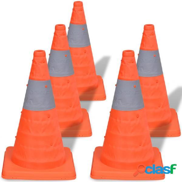 VidaXL - Conos de tráfico desplegables 42cm (5 unidades)
