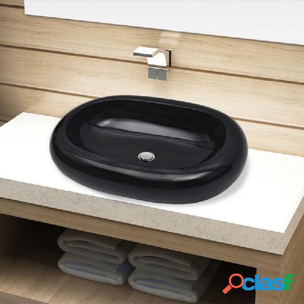 VidaXL - Lavabo de cerámica negro ovalado Vida XL