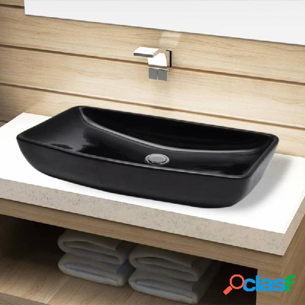 VidaXL - Lavabo de cerámica negro rectangular Vida XL
