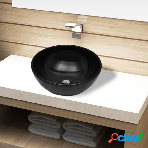 VidaXL - Lavabo de cerámica negro redondo Vida XL