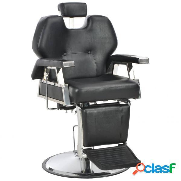 VidaXL - Silla de peluquería de cuero sintético negra