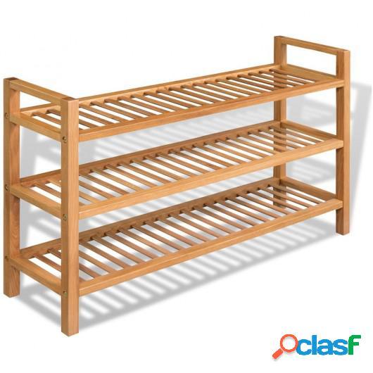 Zapatero con 3 estantes madera maciza de roble 100x27x59,5