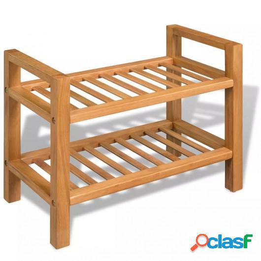 Zapatero con dos estantes madera de roble maciza 49,5x27x40