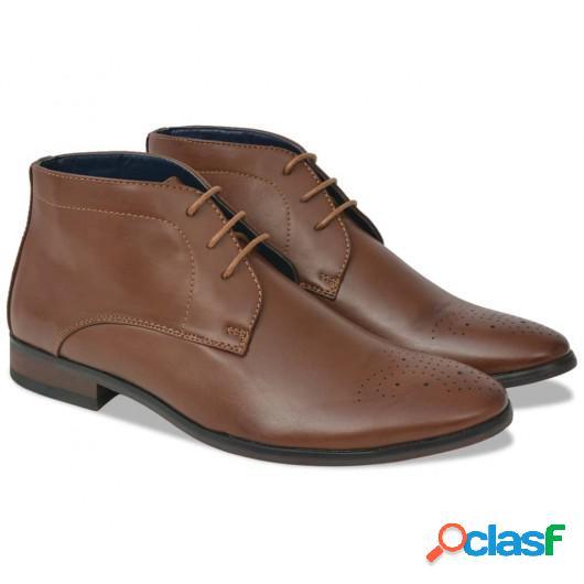 Zapatos botines de hombre de cordones marrón T 42 cuero PU