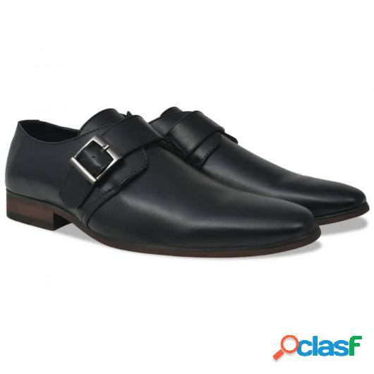 Zapatos de hombre Monk Strap negros talla 42 cuero PU