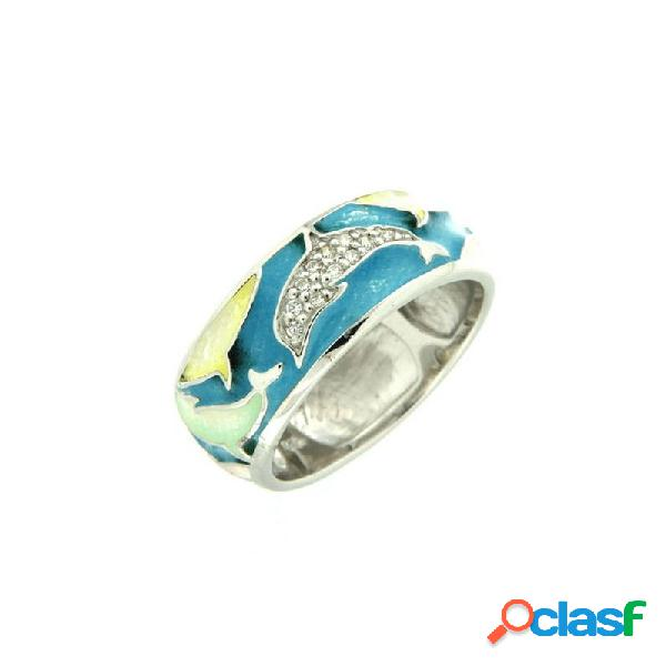Anillo Sortija Plata Circonitas Peces 1-4842-01