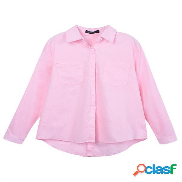 Blusa amplia con solapa de manga larga para mujeres
