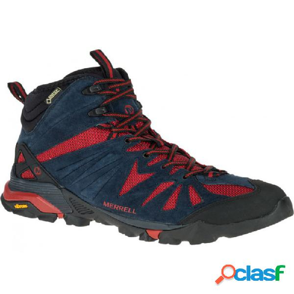 Botas De Montaña Merrell Capra Mid Goretex Hombre Azul Rojo