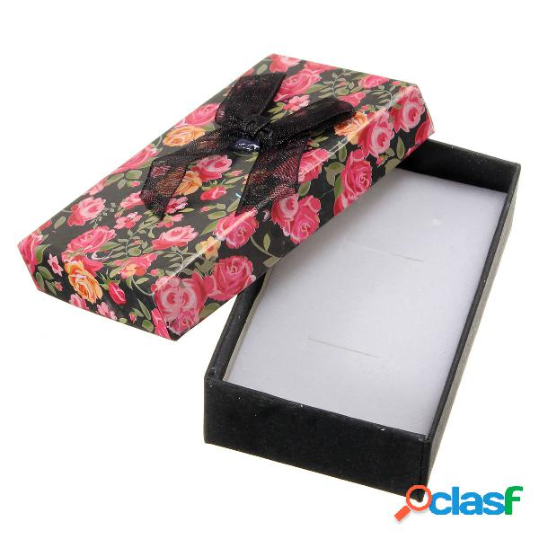 Caja de regalo de papel de joyería Bowknot de flores