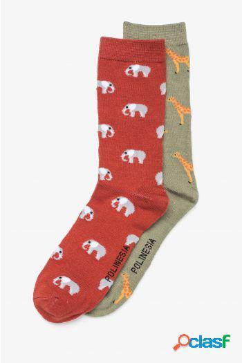 Calcetin plns jirafas y elefantes