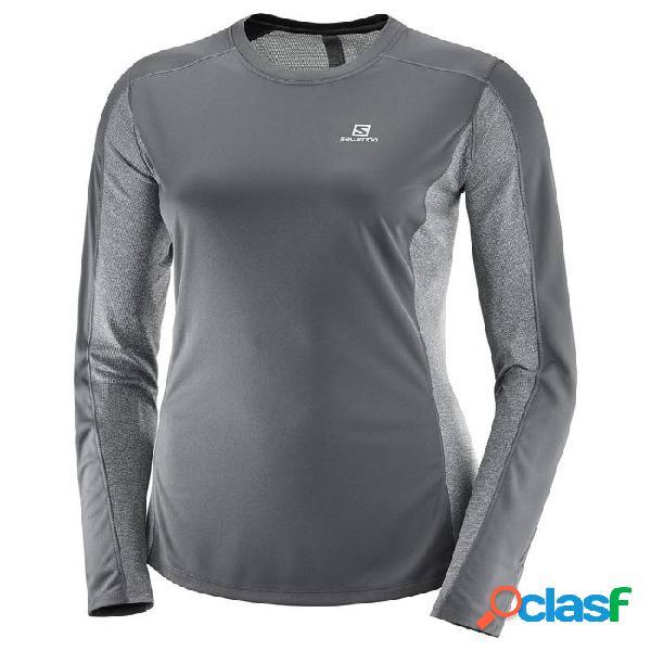 Camiseta Running Salomon Agile Ls Tee Mujer Hierro Forjado