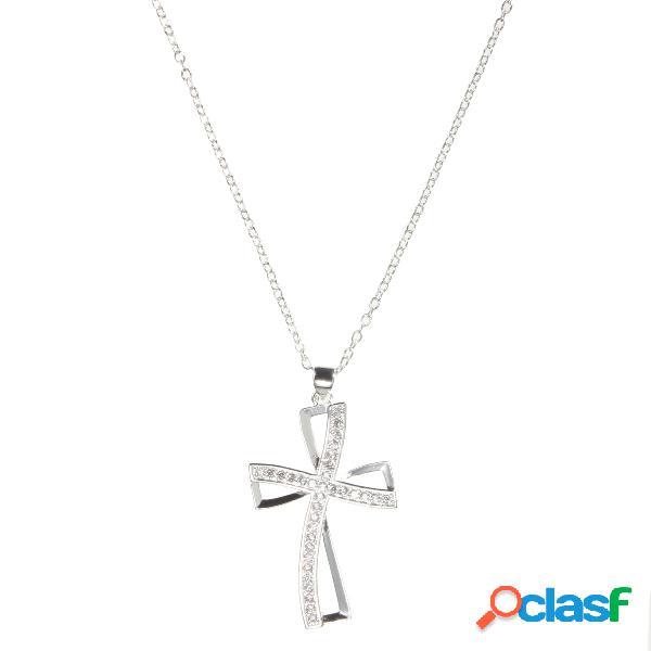 Collar de cristal de la cruz de la plata esterlina 925
