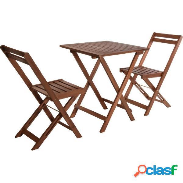 Conjunto mesa plegable madera 60x60x72 cm y 2 sillas