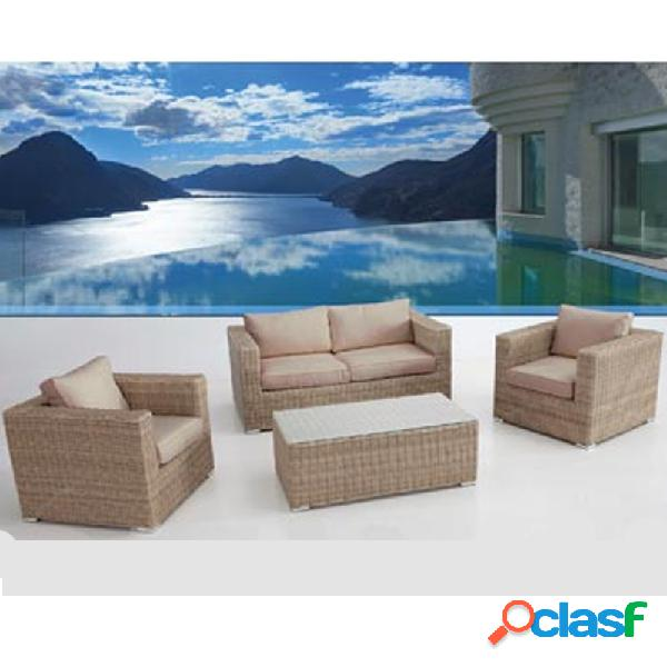 Conjunto ratan cafe gold plus sofa 3 plazas