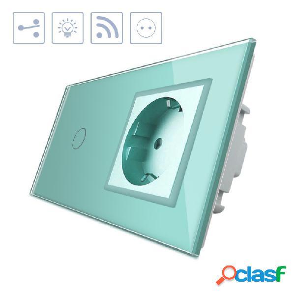 Conmutador táctil 1 boton + 1 enchufe frontal verde +