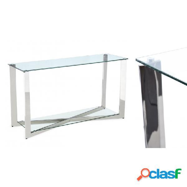 Consola Plata Cristal Acero Y 120 X 30 76