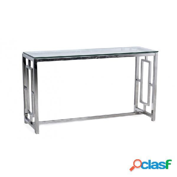 Consola Plata Cristal Acero Y 120 X 40 78