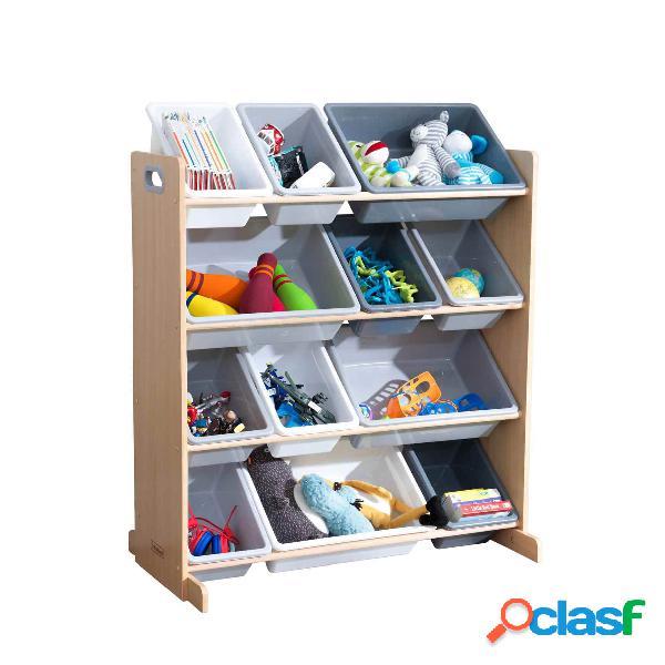 Estantería para almacenar juguetes con 12 cubos: Gris &