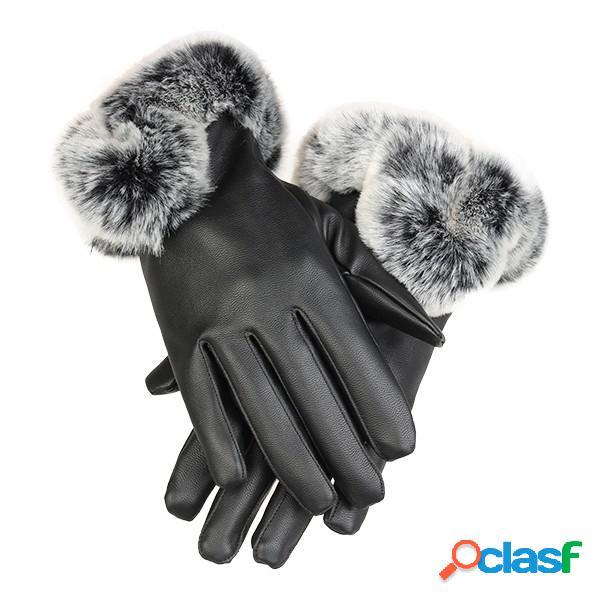 Frío invierno cálido piel de conejo de las mujeres
