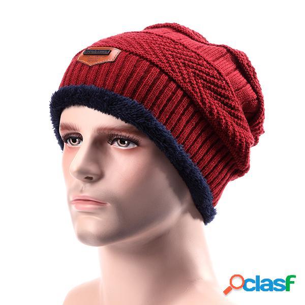 Hombre de punto Slouch Beanie Sombrero Forro de felpa Capas